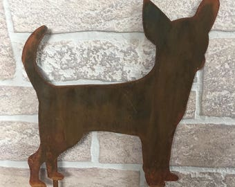 Metal Chihuahua Yard Stake Sign - Garden Decoration - Indoor/Outdoor Planter Decor