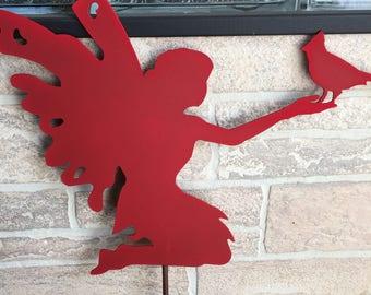 Metal Fairy holding a Bird Yard Stake Garden Decor - indoor/outdoor Planter Decoration
