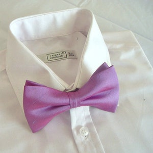 a1b873ba473e Lavender pink silk wedding bowtie groom groomsmen christening prom dupioni  silk formal bow tie pretied