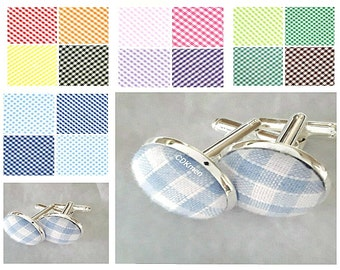 Pale blue blue gingham check cufflinks 15 colours available