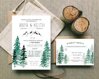 Forest Wedding Invitation Set Digital Download - Washington wedding, PNW wedding, evergreen wedding