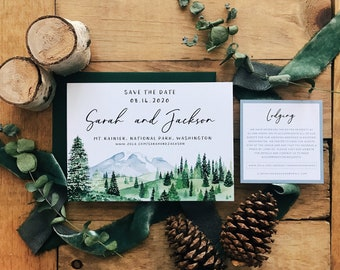 Mountain and Pines Save the Date Digital Download
