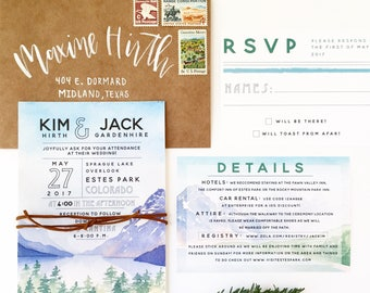 The Colorado Wedding Invitation Suite Digital Download - Rocky Mountain Wedding