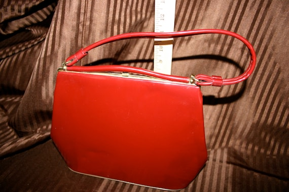 Red 50s Patent Leather Box Purse