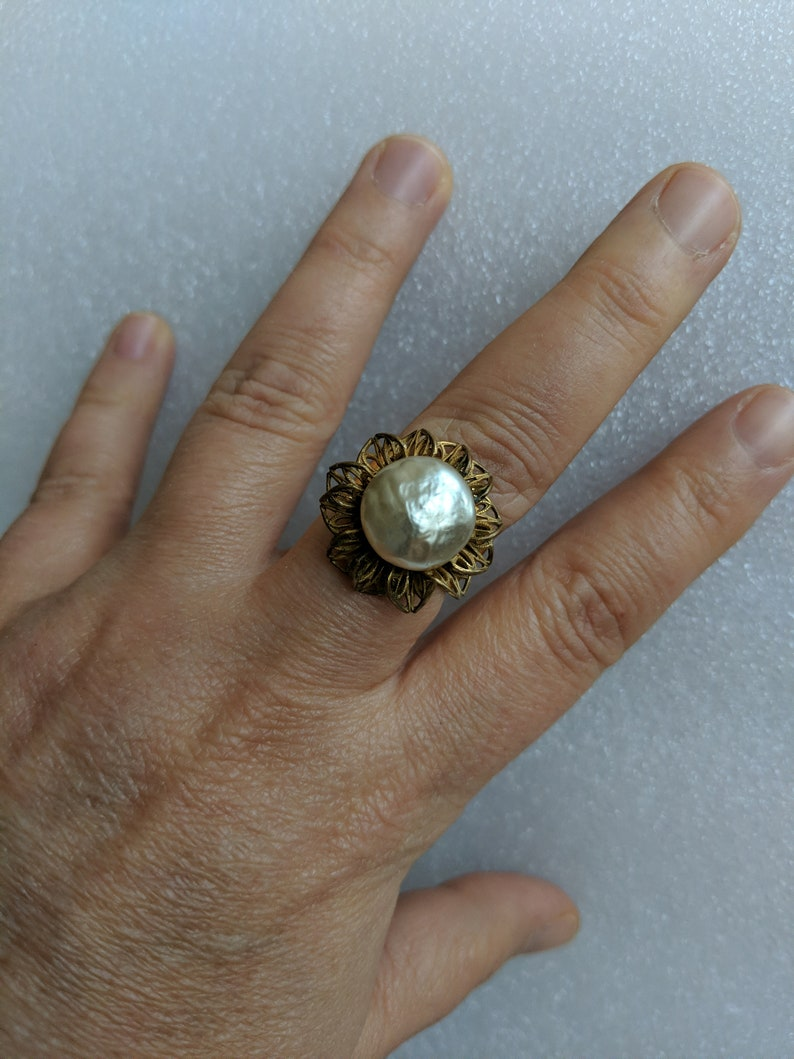 Flower Ring/adjustable/ upcycled/ one size fits all/ Miriam image 0