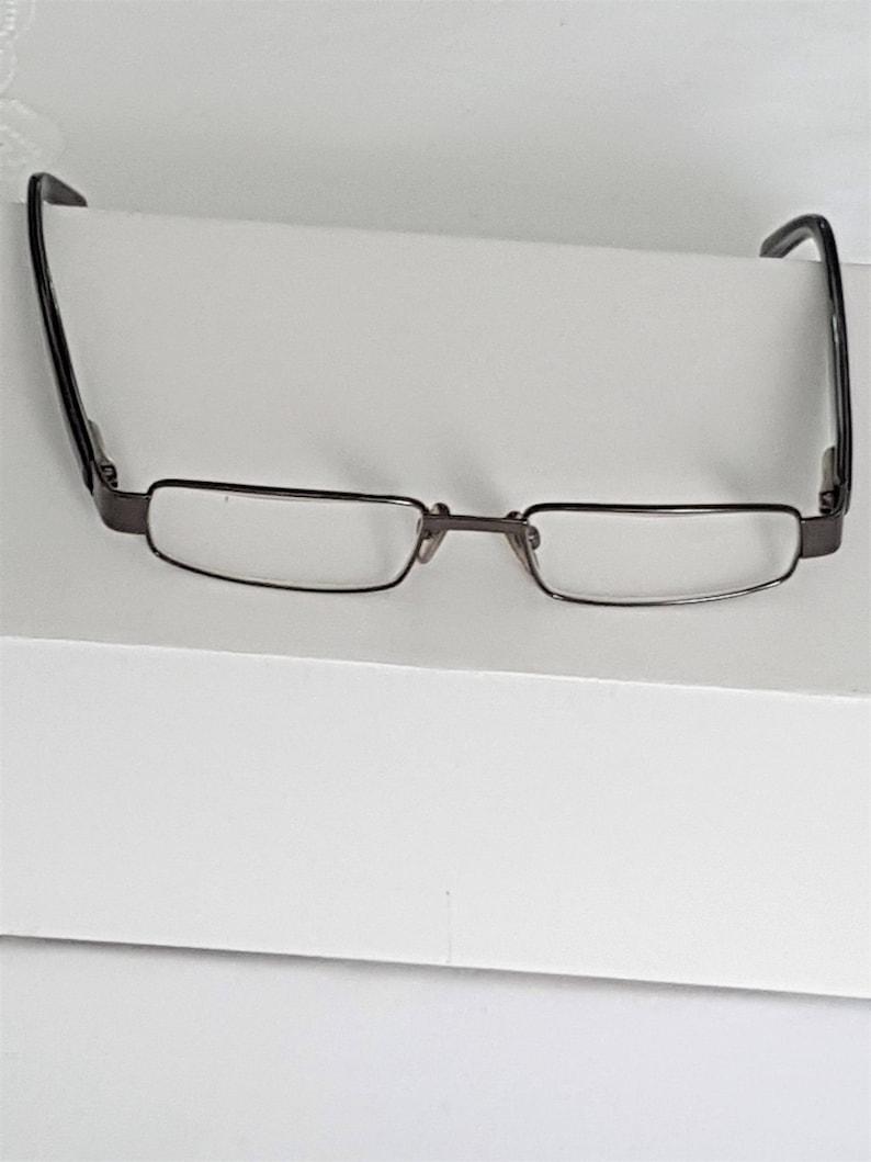 metal rim glasses rectangular glasses red eyeglasses 1980s spectacles half lenses reading spectacles Vintage spectacles
