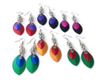 Scalemaille Earrings - Scale Earrings - Byzantine Chainmaille Earrings with Scales