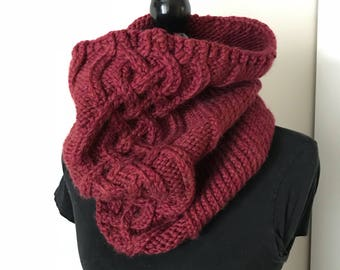 Celtic Knot Scarf in Merlot, Cable Scarf, Knit Scarf, Knit Scarf, Knit Accessories