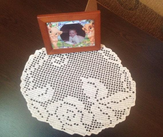 Häkeln Sie Deckchen Runde Tischdecke Beige Blumenmuster Etsy