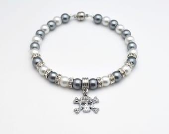 Dark Gray & White Pearl Dog Collar,Pearl Cat Collar,Skull Cat Collar,Skull Dog Collar,Rhinestone Accents,Rhinestone Skull Collar