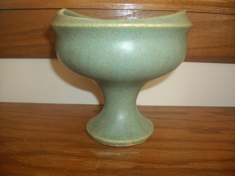 Vintage Green Speckled Pedestal Planter