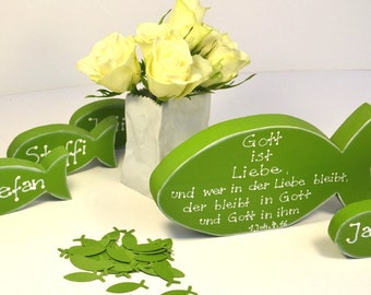Konfirmationsspruch Karte.Wood Heart Table Card Guest Gift Wedding Table Decoration Etsy