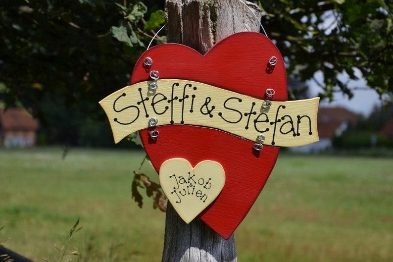 Three piece wooden heart name sign door sign wedding wood image 0