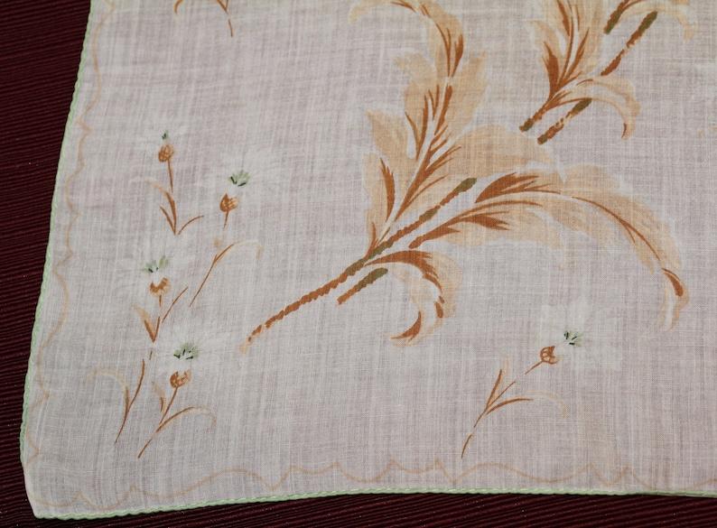 Pocket Square Linen Hankie Sewn Edge Brown Mid Century Modern Floral Hankie Green Vintage Green Flower Handkerchief Beige White