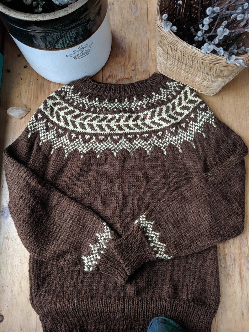 Fair Isle Sweater Hand Knit in Brown size Medium  READY TO SHIP