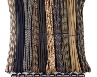 "550 Paracord Kit 100 ft for Paracord bracelets + 10 3/8"" buckles 10 feet each - Type III 7 Strand Mil Spec Made in USA ~ DIY parachute cord"