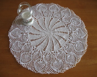 New large white hand-crocheted doily