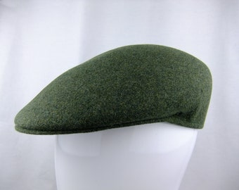 Vintage English Green Wool Flat Cap Mens Size 6 7 8 Made in England (FREE  SHIPPING) b004d1db3163