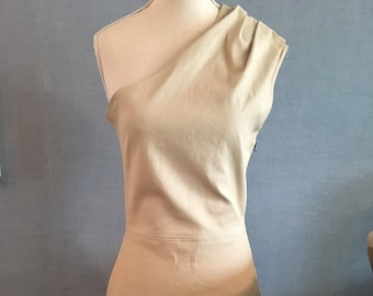 Cream Leather Dress with One Shoulder