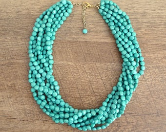 The Riva Teal Statement Necklace, Layered Statement Necklace, Multistrand Necklace, Teal Beaded Statement Necklace, Chunky Teal Necklace