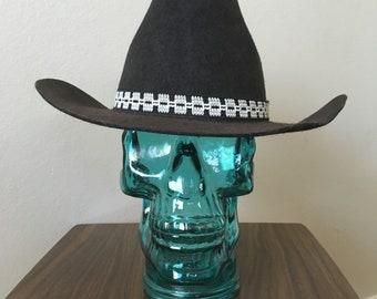 0d2f62335b6 Size 7 1 8 Black Cowboy Hat 1980s Wool Rodeo Cattleman