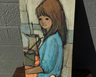 Jaklien Moerman Print on Board Girl at Picnic Mid Century Print Big Eyed Girl 1960's