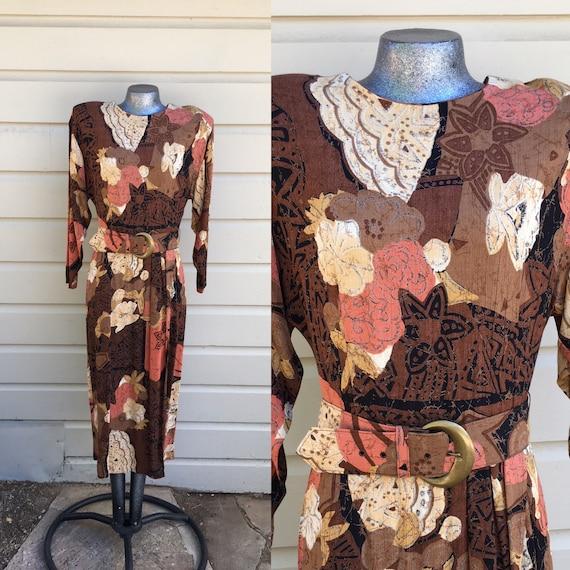 Large Floral Blouson Rayon Dress 1980s Brown Cream