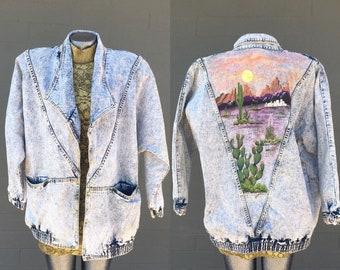 Large Hand Painted Acid Wash Western Desert Denim Jacket Studs Oversized Eighties Cactus