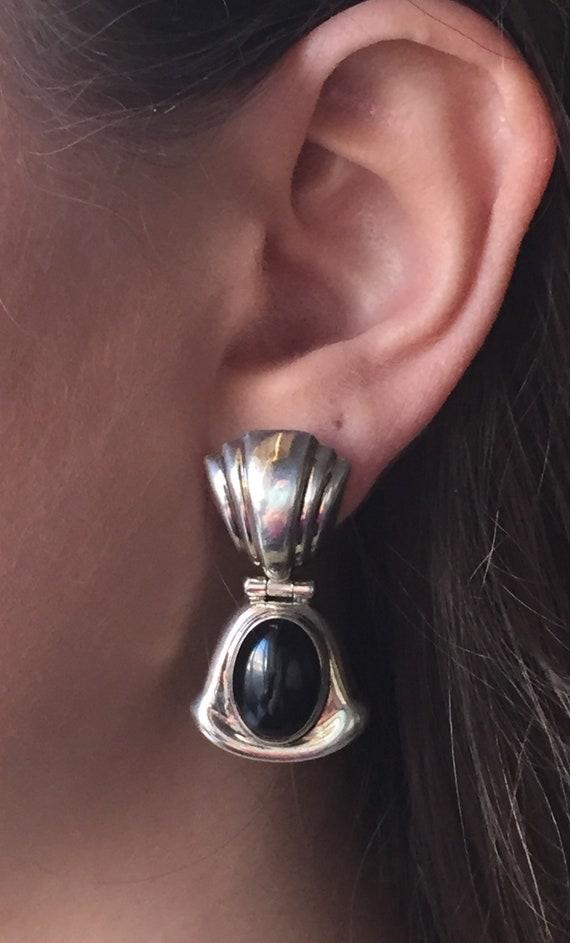 Sterling Silver Black Onyx Pierced Earrings Signed Mexico Fine Jewelry on Etsy