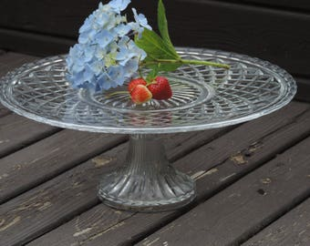 Vintage Cake Stand Pattern Glass Pedestal Cake Stand Waterford style Wedding  Cup Cake Stand large size