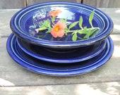 FIESTA HLC Homer Laughlin Cobalt Blue Set of 4 Variety Berry Bowl, Saucer, Bread Butter, Dessert Plate and Gusto Bowl