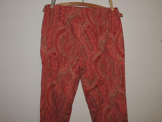 Ladies Skinny Pants Paisley Print Side Zip Cotton… - image 5