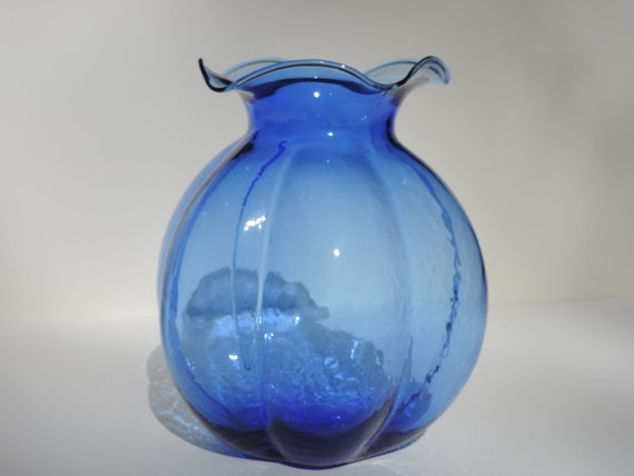 Hazel Atlas Blue Cobalt Depression Glass Vase 30s Rare Etsy