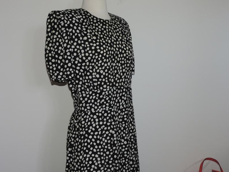 80/'s Rayon Dress Black and White Polka Dot Adrian Lee Karin Scott petite size 14