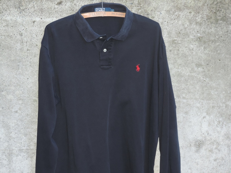 d39b8bf6420fa Vintage Ralph Lauren Polo Rugby Black Long Sleeve Shirt size L