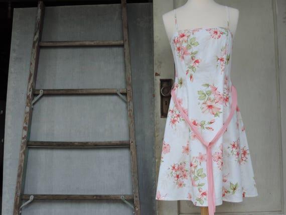 Floral Sundress 70's White Salmon Pink Floral Desi