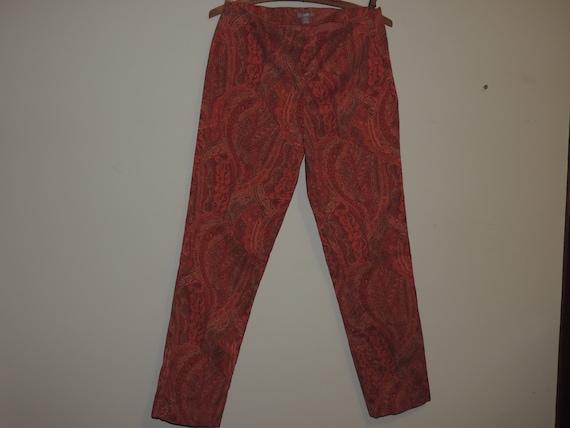 Ladies Skinny Pants Paisley Print Side Zip Cotton… - image 3