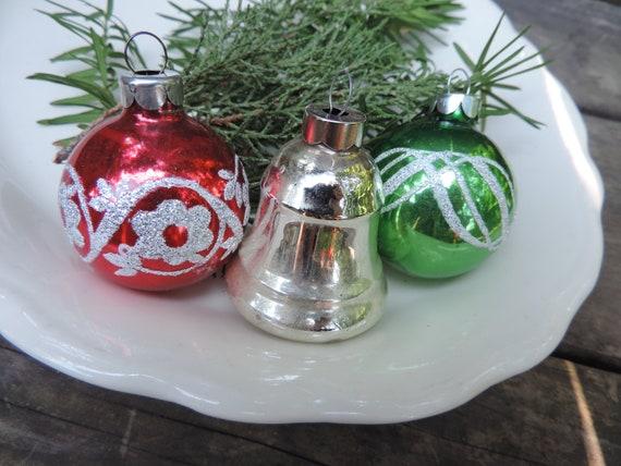50 S Mercury Glass Christmas Ornaments Set Of 3 Vintage Etsy