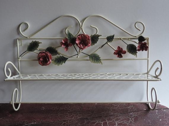 Mid Century Garden Rack Ornamental Wrought Iron Garden Shelf Vintage  Country Farmhouse Garden Rack