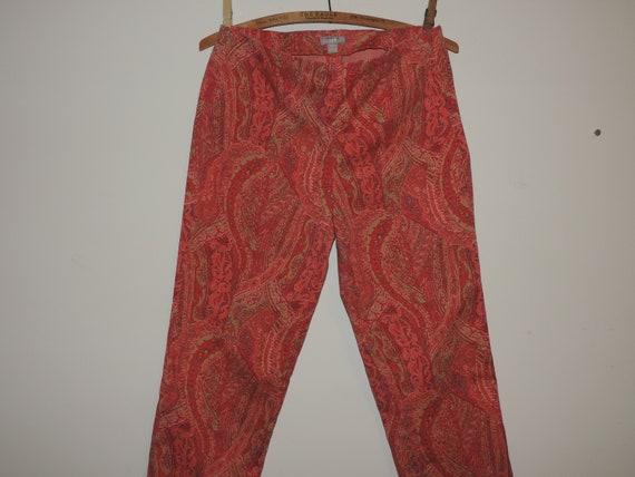 Ladies Skinny Pants Paisley Print Side Zip Cotton… - image 4