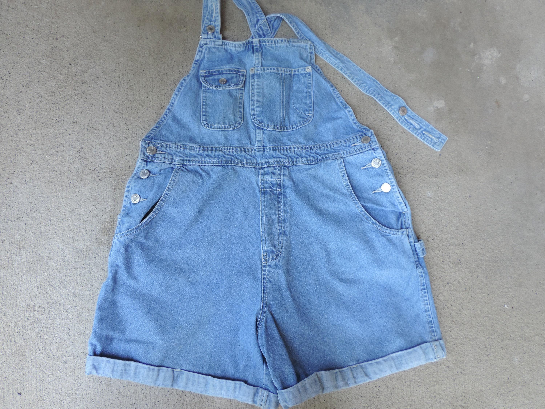 Vintage Overalls & Jumpsuits 90s Gap Overalls Shorts Over Sized Womens Girls Jeans Washed Denim Size M $42.30 AT vintagedancer.com