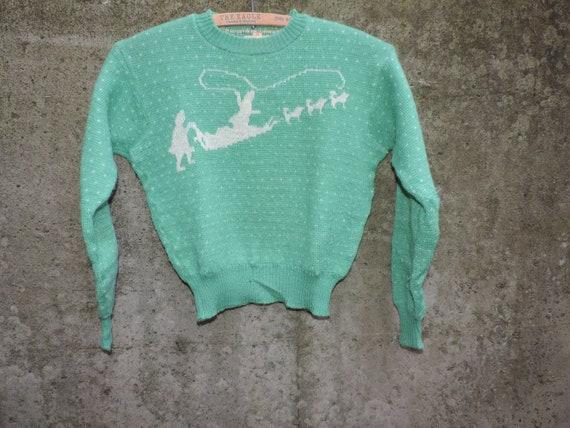 40's JANTZEN Wool Sweater Rare Green Dog Sled Patt