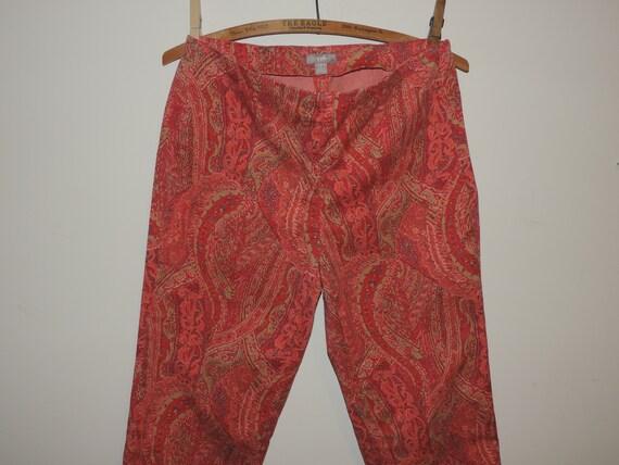 Ladies Skinny Pants Paisley Print Side Zip Cotton