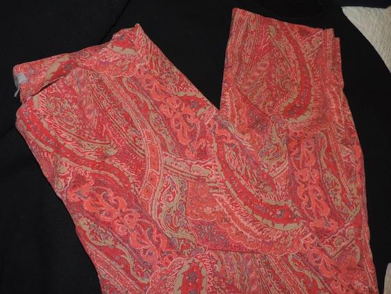 Ladies Skinny Pants Paisley Print Side Zip Cotton… - image 8