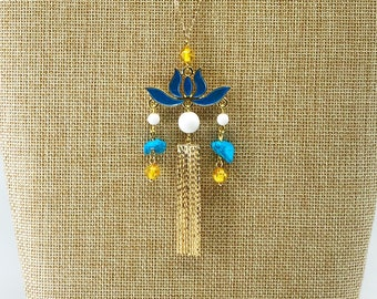 Chinese Gold Enamel Lotus Tassel Necklace in Gold Filled with Strawberry Quartz Yun Boutique Asian Vintage Jewelry