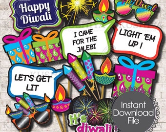 Diwali Party Photo Booth Props  - Set of 14 - Diwali Celebrations, Indian Party Signs, Instant Download, Printable, Print your own, DIY