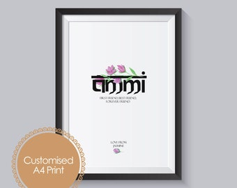 Mothers Day Gift For Ammi Indian Print Unique Personalised Birthday Urdu Hindi Desi Style Customised FRAME NOT INCLUDED