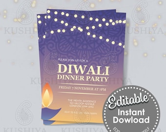 Diwali Dinner Party Invitation - Blue Diya, Editable, Digital File, Instant Download, Printable Invite, Edit Yourself, Print Your Own, DIY