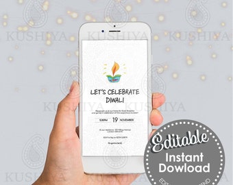 Let's Celebrate Diwali Mobile Invitation -Editable, Digital File, Electronic, Instant Download, Electronic, Phone Invite, Edit Yourself, DIY