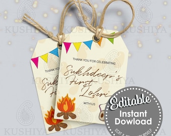 Baby's First Lohri Gift/Favour Tags - Editable, Personalised, Digital File, Instant Download, Printable, Edit Yourself, Print Your Own, DIY